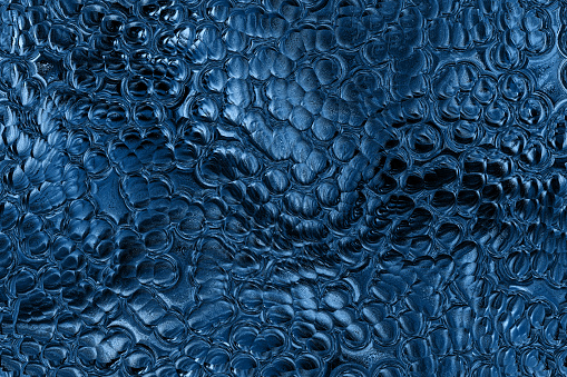 Blue Classic Snake Skin Crocodile Trendy Color of Year 2020 Background Dragon Dinosaur Leather Abstract Glittering Dark Navy Shiny Bubble Liquid Foil Close-up Digitally Generated Image Pattern Seamless