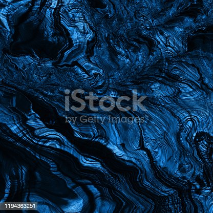 Blue Classic Navy Stone Mineral Dark Cliff Trendy Color of Year 2020 Abstract Solidified Lava Formation Circle Rippled Stripe Mountain Pattern Close-up Ombre Texture Fantastic Planet Landscape Fractal Fine Art