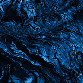 Blue Classic Stone Navy Mineral Dark Cliff Trendy Color of Year 2020 Abstract Solidified Lava Formation Circle Rippled Stripe Mountain Pattern Close-up Ombre Texture Fantastic Planet Landscape Fractal Fine Art