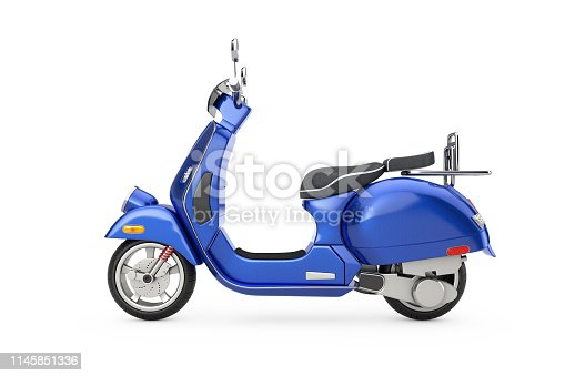 Blue Classic Vintage Retro or Electric Scooter on a white background 3d Rendering