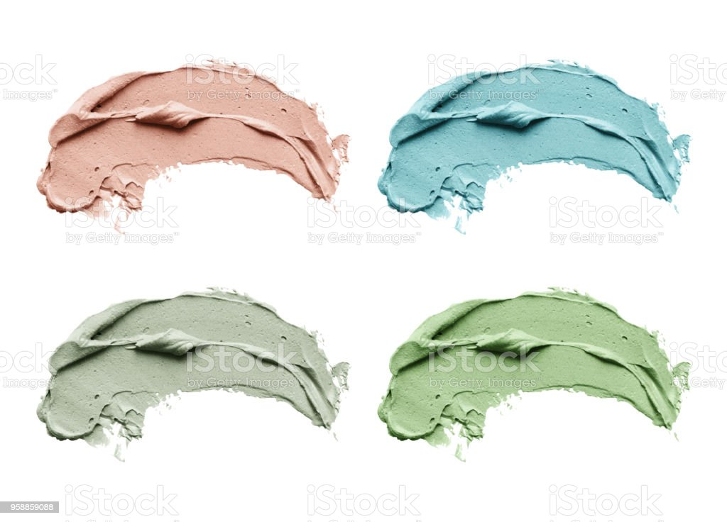 Blue clay facial mask smear on white isolated background stock photo