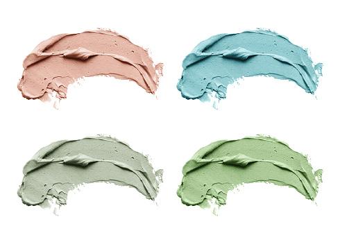 Blue Clay Facial Mask Smear On White Isolated Background - zdjęcia stockowe i więcej obrazów Abstrakcja
