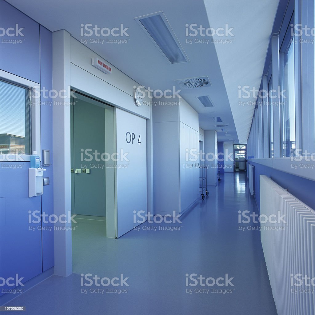 Blue clean hospital floor stock photo