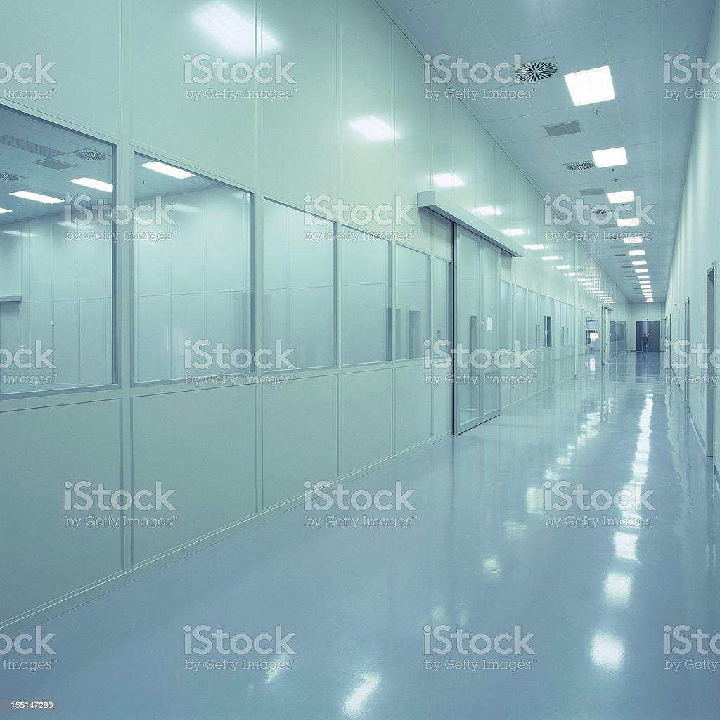 Blue clean new industrial building floor royalty-free stock photo