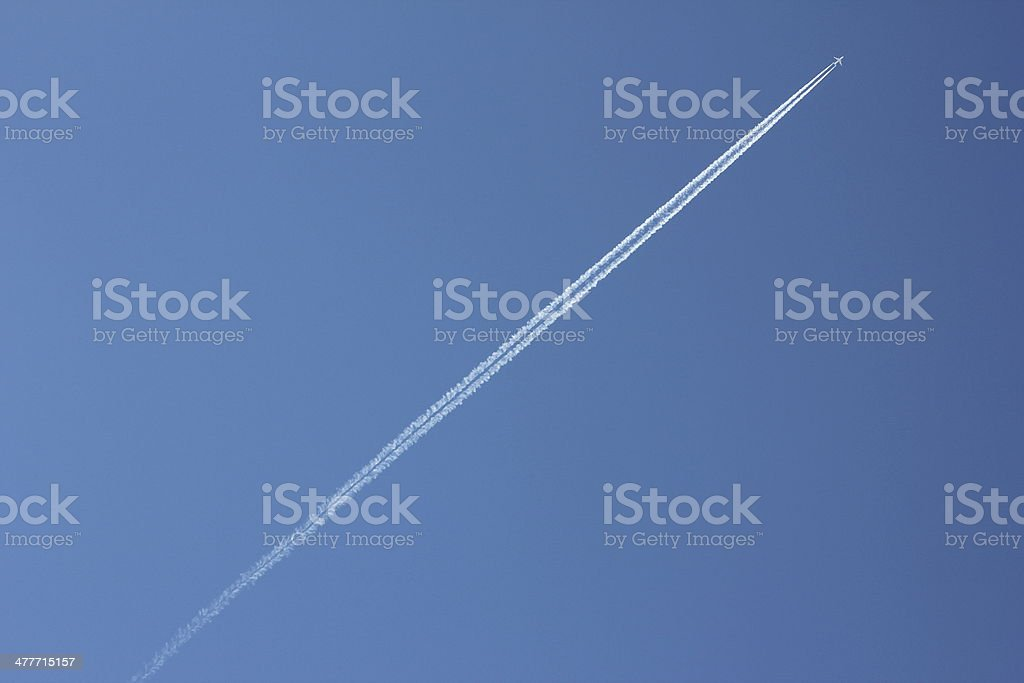 Blue Clear Sky & White Condensation Trail of an Aircraft stock photo