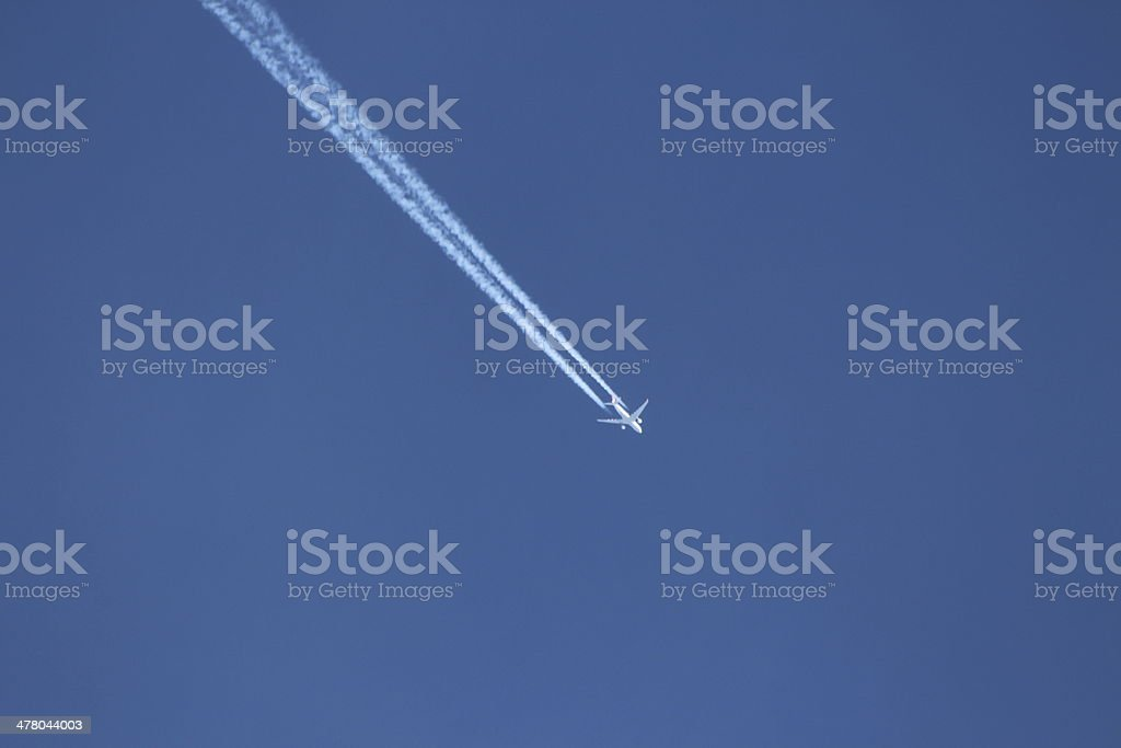 Blue Clear Sky & White Condensation Trail of an Aircraft royalty-free stock photo