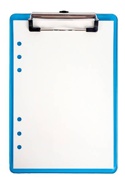 blue klemmbrett und papier isoliert - unterrichtsplanung vorlagen stock-fotos und bilder