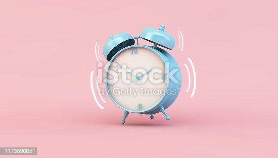 blue clock ringing 3d rendering