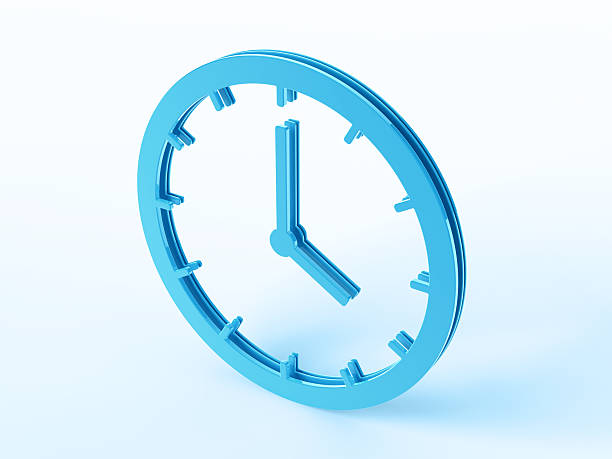 Blue Clock Symbol 3D Render of a clock symbol. Concept image for Time Related Services. The clock shows 4 o'clock. Very high resolution available!Related images: abstract 3d stock pictures, royalty-free photos & images