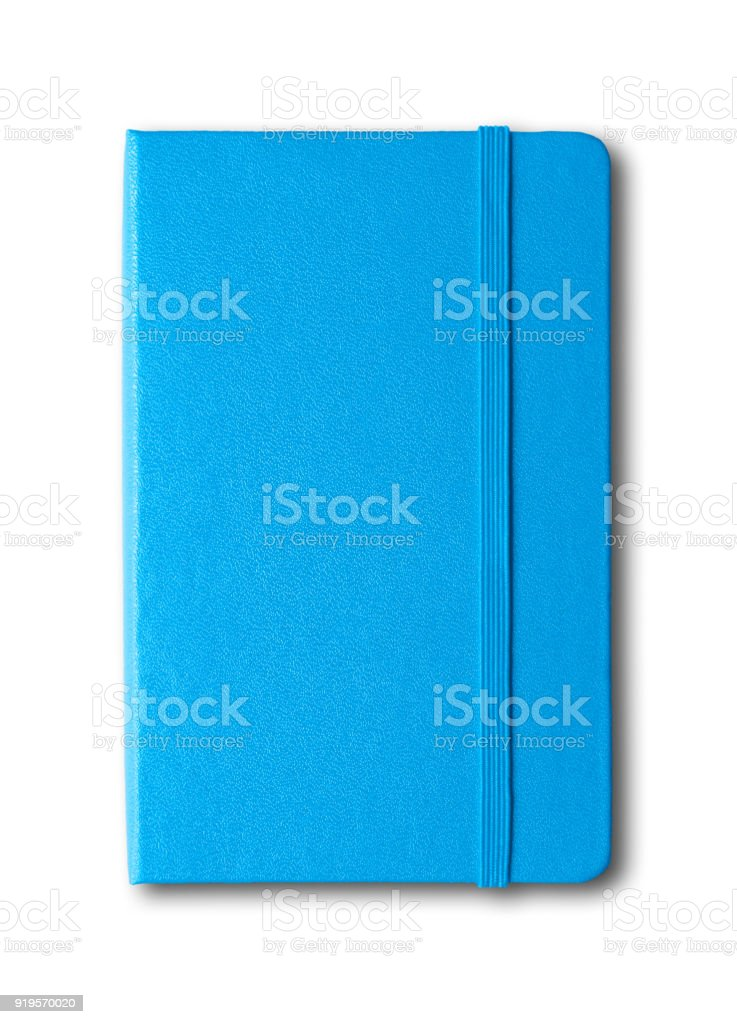 blue closed notebook isolated on white stock photo