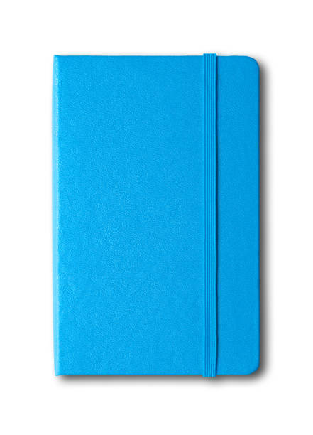 blue closed notebook isolated on white - diario foto e immagini stock