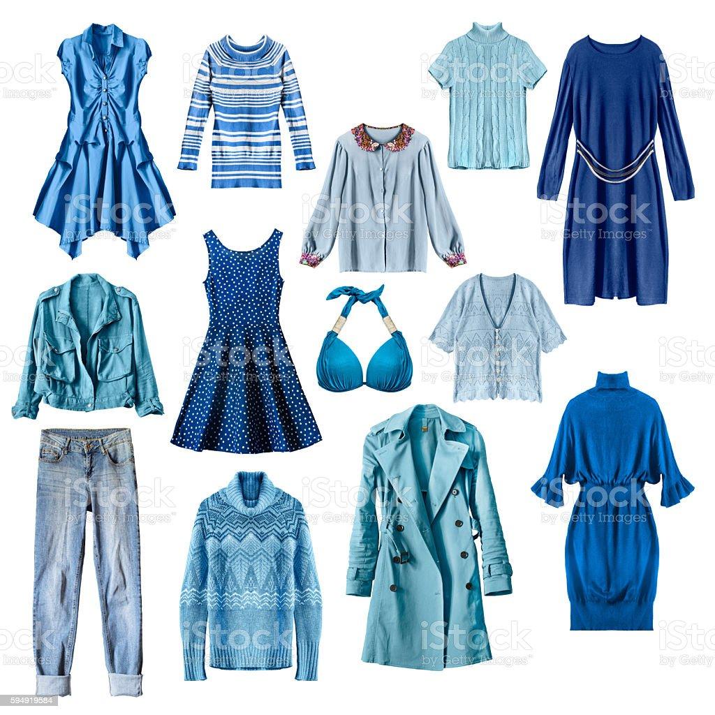 Blue clothes isolated - foto de acervo