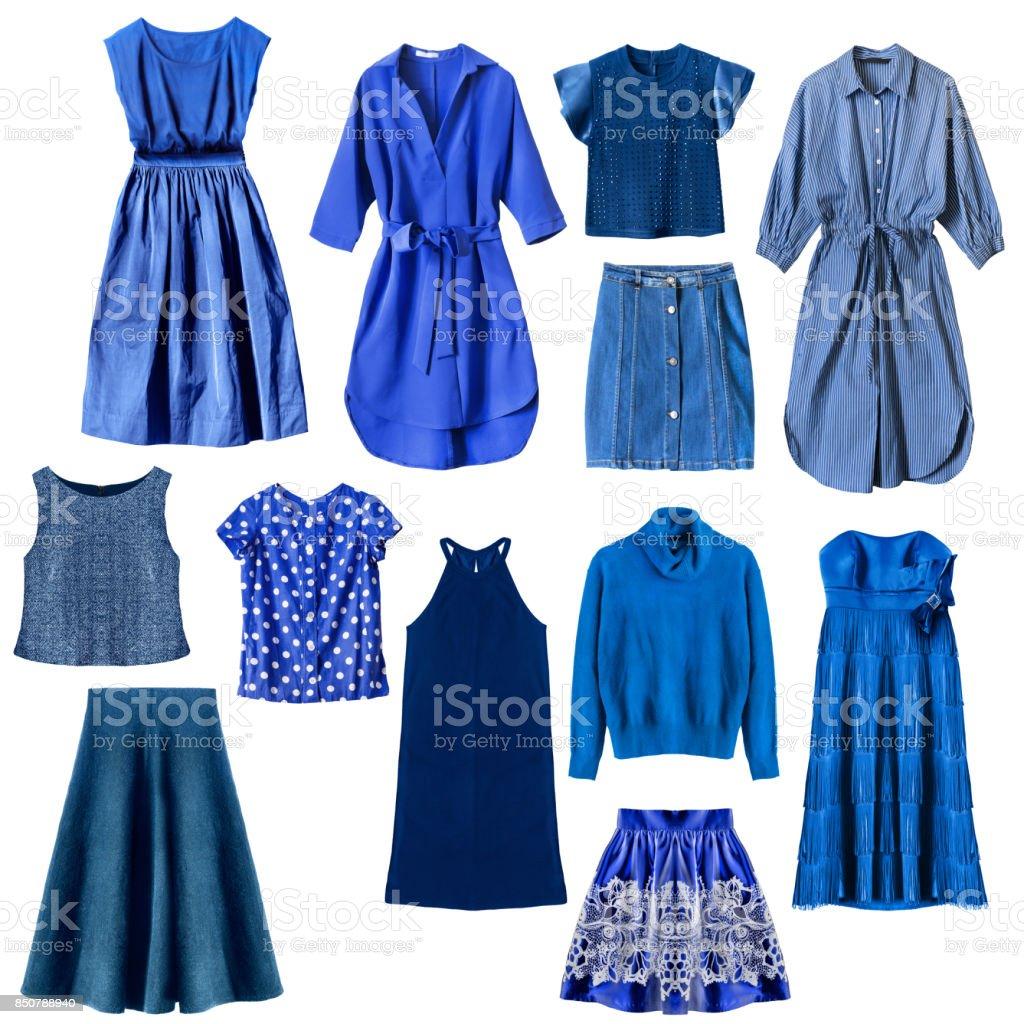 Blue roupas isolado - foto de acervo