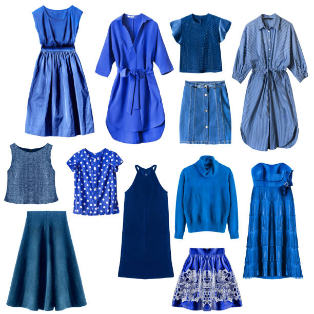 Blue clothes isolated Set of blue woman clothes isolated over white dress stock pictures, royalty-free photos & images