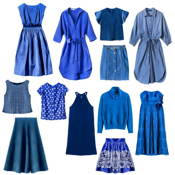 blue clothes isolated - spódnica zdjęcia i obrazy z banku zdjęć