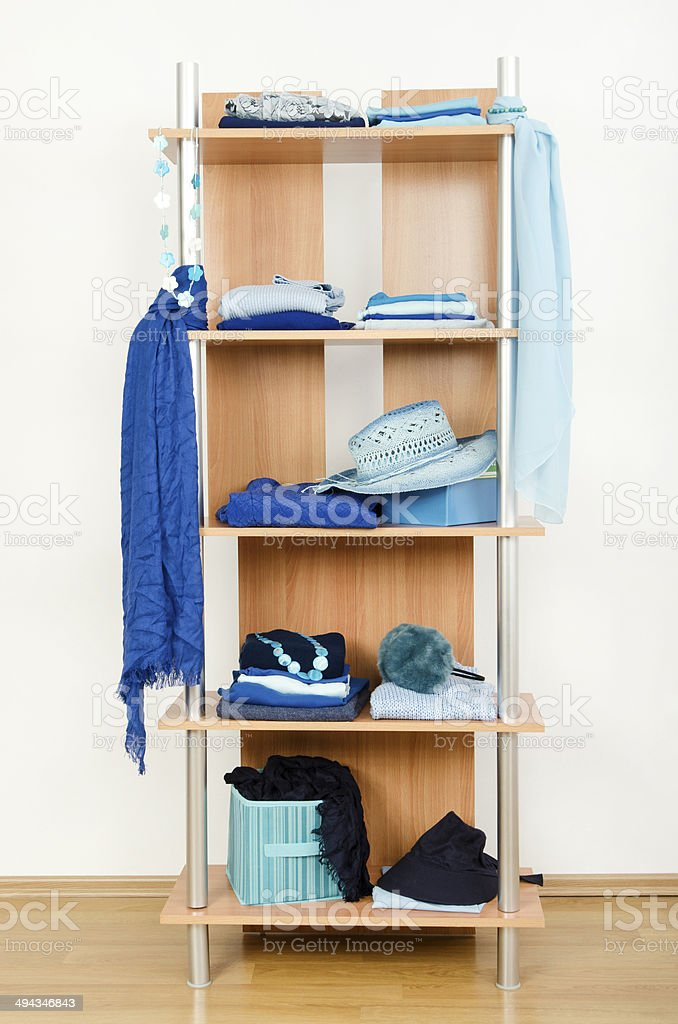 Tidy wardrobe with color coordinated clothes and accessories.