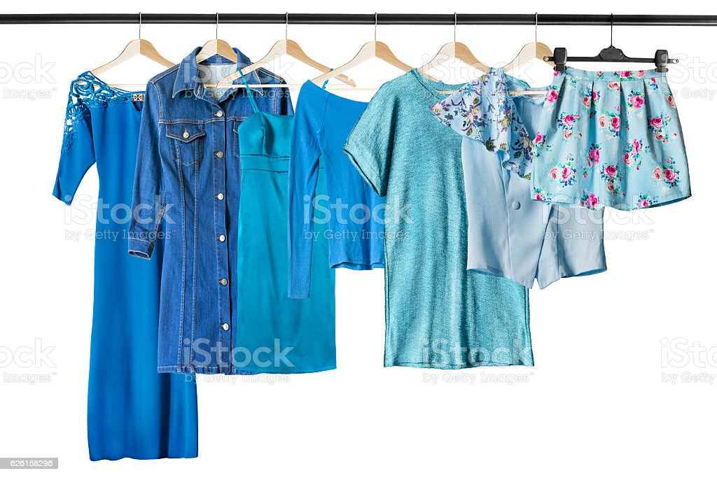 Blue clothes on clothes racks stock photo