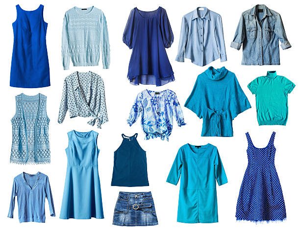 Blue clothes Set of blue female clothes on white background blouse stock pictures, royalty-free photos & images