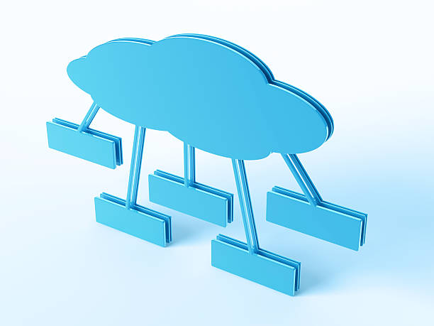 Blue Cloud Computing Network Symbol 3D Render of a blue Cloud Computing Network Organization Chart with blank fields. Concept image for Cloud Computing Services. Very high resolution available! Use it for Your own composings!Related images: blue 3d business NOT map NOT background stock pictures, royalty-free photos & images
