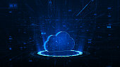 istock Blue cloud storage with circle technology abstract background 1287148591
