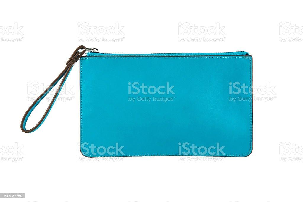 Blue clutch bag stock photo