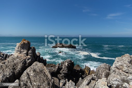 Blue Ocean Coastal seascape with rocks in the foreground