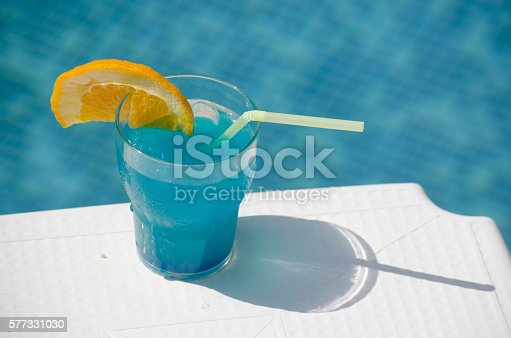 istock Blue cocktail glass 577331030