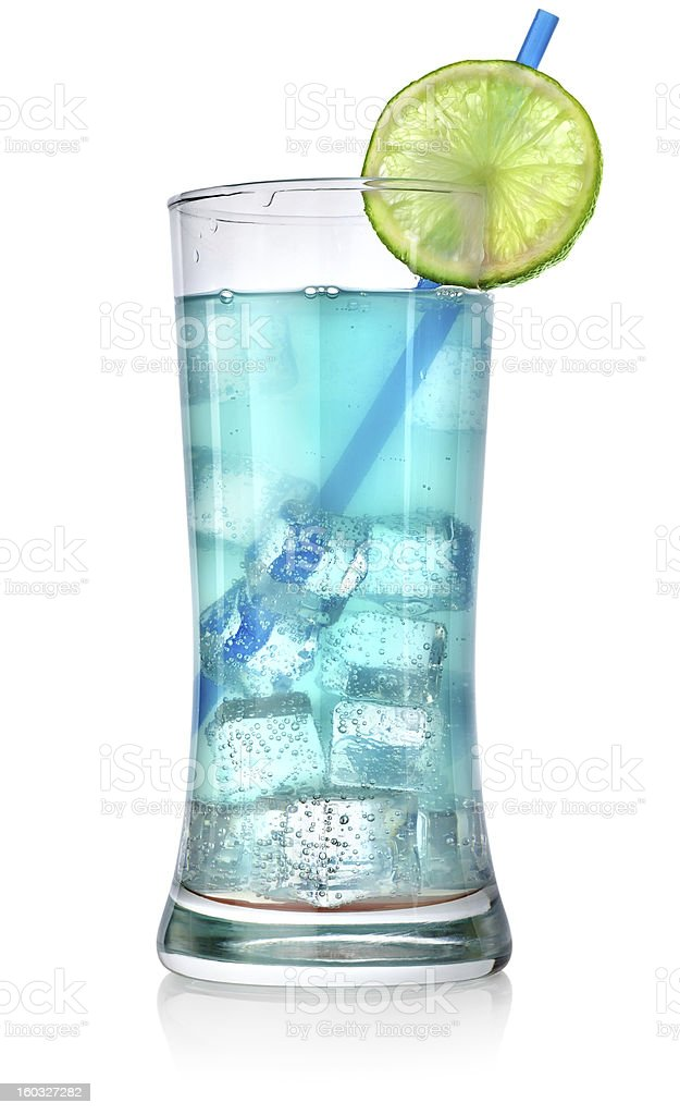 Blue cocktail in a big glass royalty-free stock photo