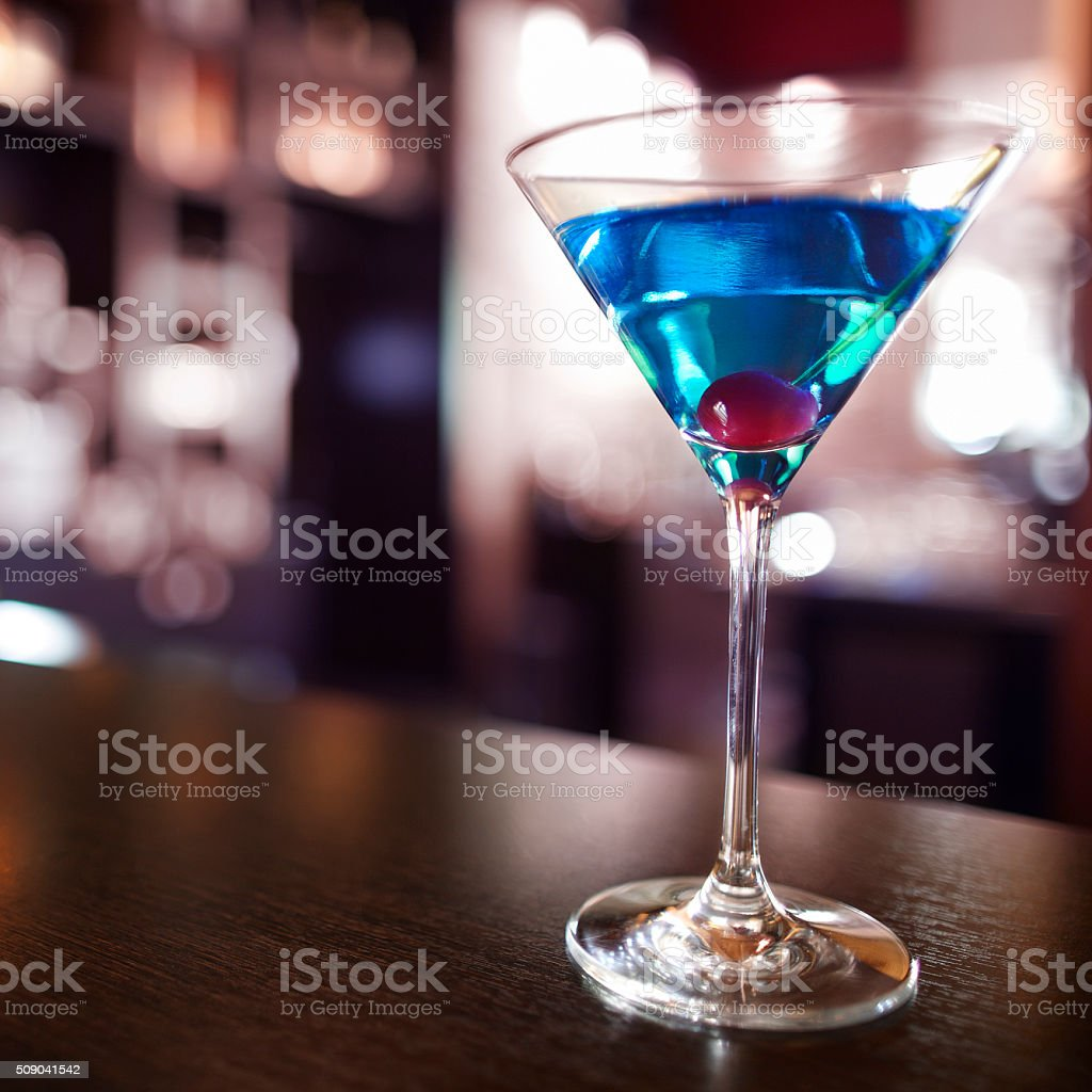 Blue cocktail stock photo