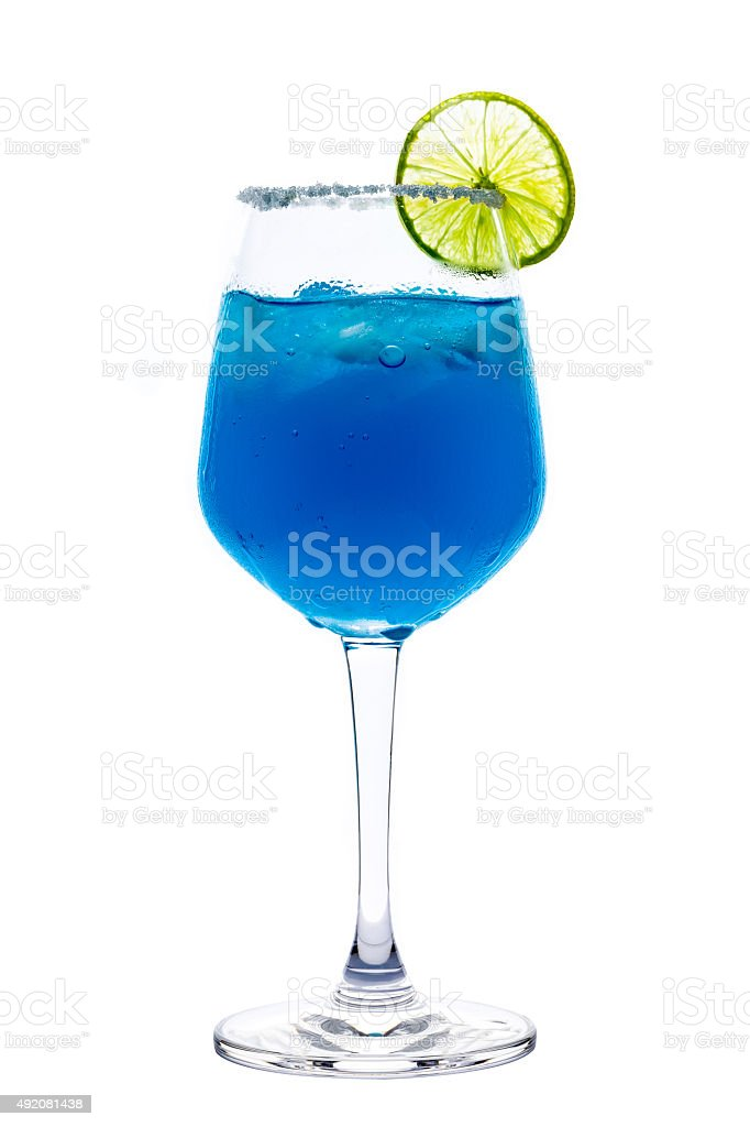 Blue Cocktail with Lime / Blue Cocktail stock photo