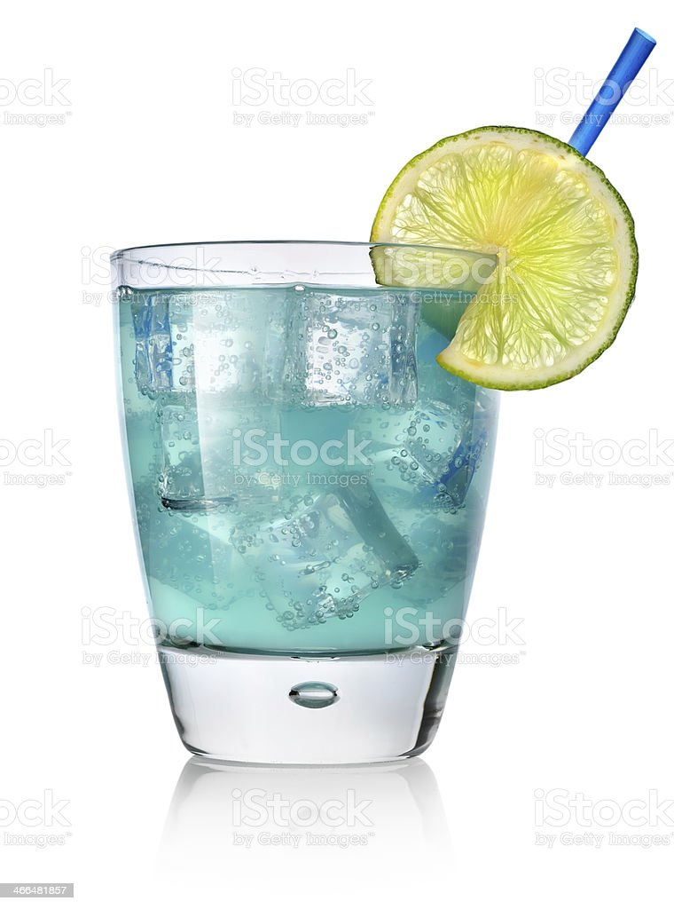 Blue cocktail with lime stock photo