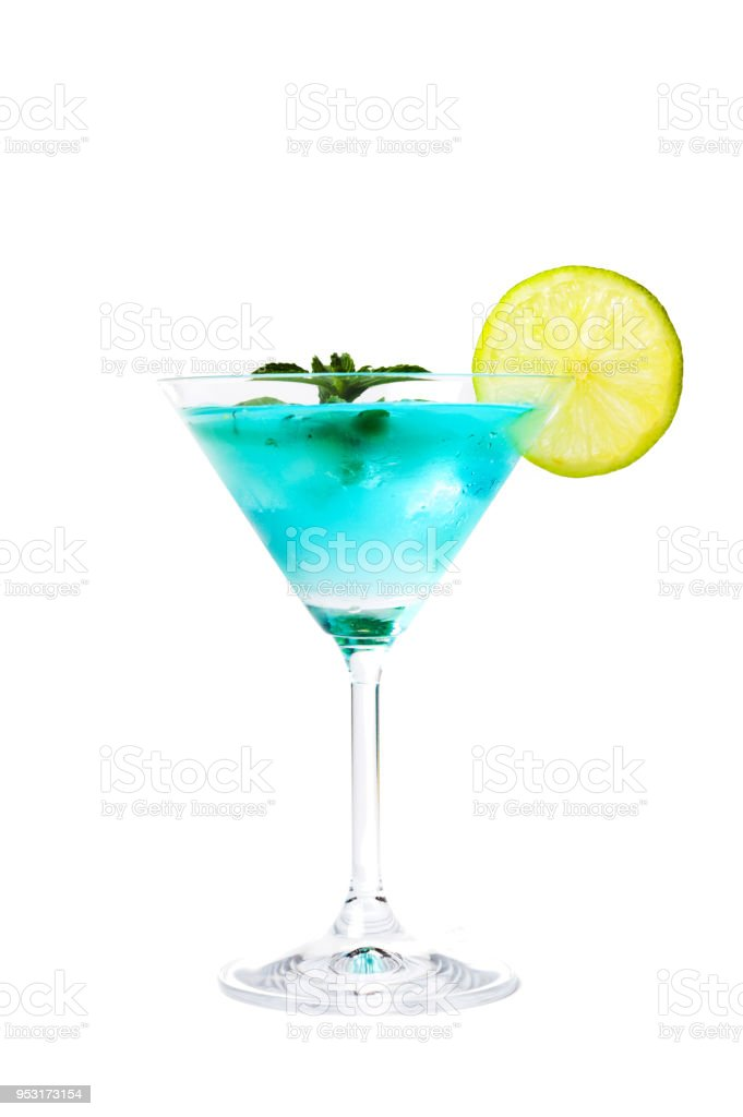Blue cocktails decorated with lemon stock photo