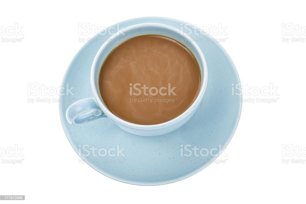 Blue Coffee Cup and Saucer royalty-free stock photo