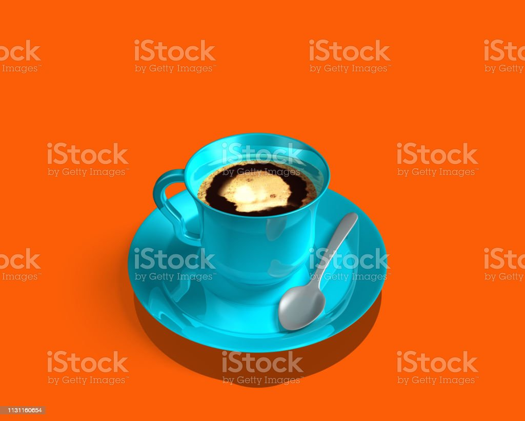 Blue coffee cup, frothy coffee on orange background. With silver...