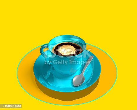 istock Blue coffee cup on light yellow background. Digital , mobil , smart table. With silver spoon and yellow brilliant plate. Order food, smart table concept. Overhead view. Technology,  3d illustration 1198502930