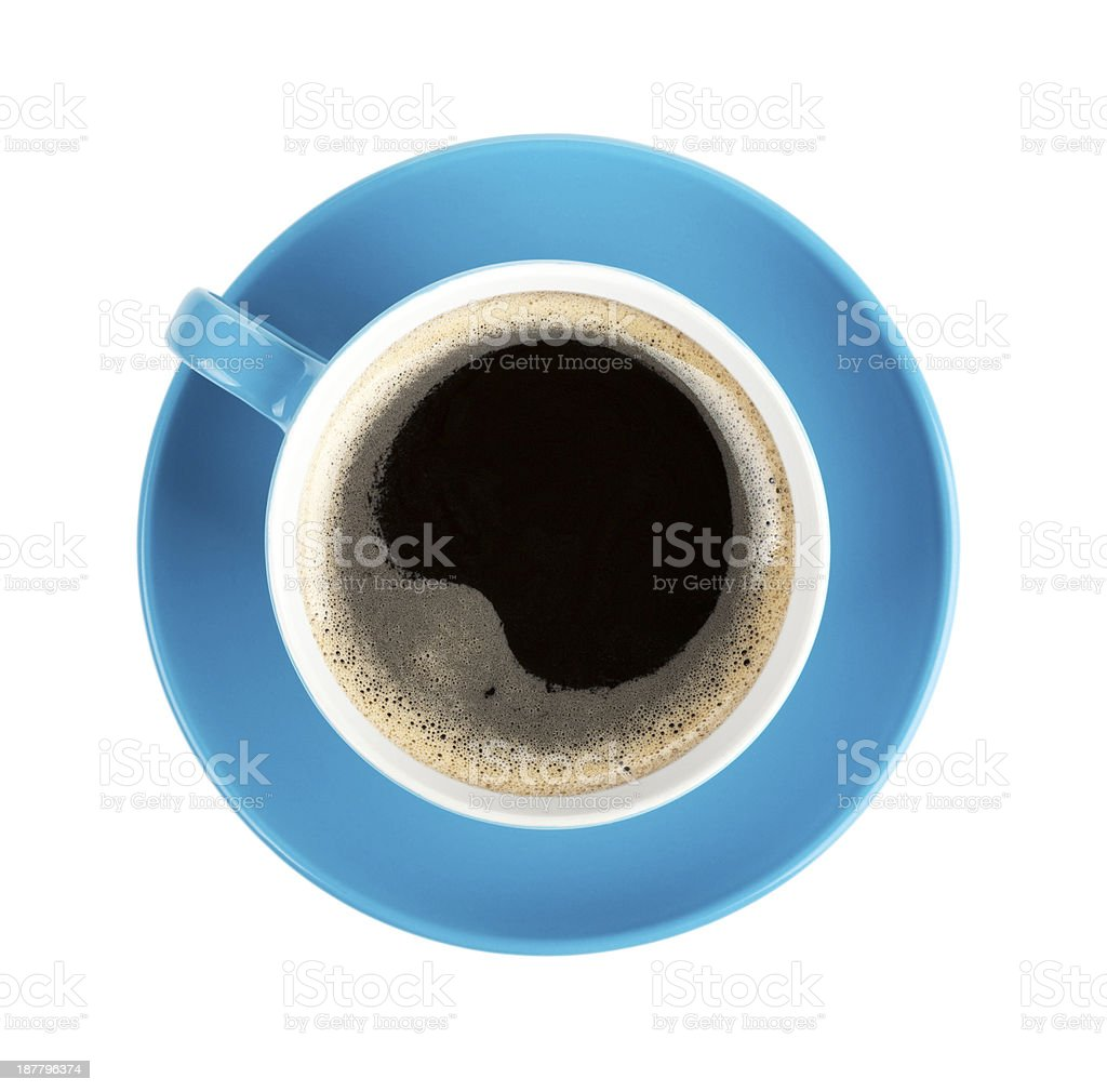 Blue coffee cup stock photo