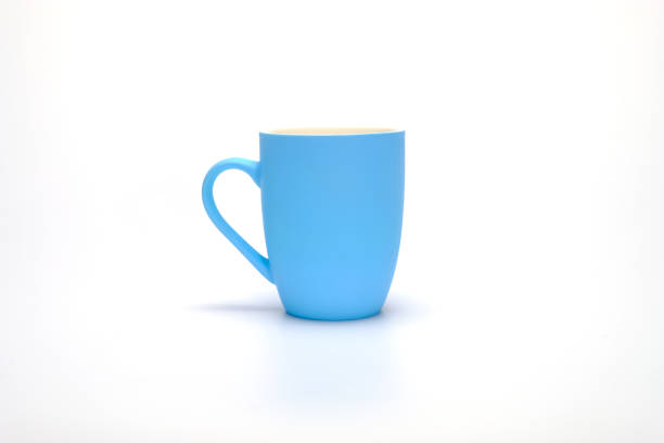 blue coffee mug stock photo