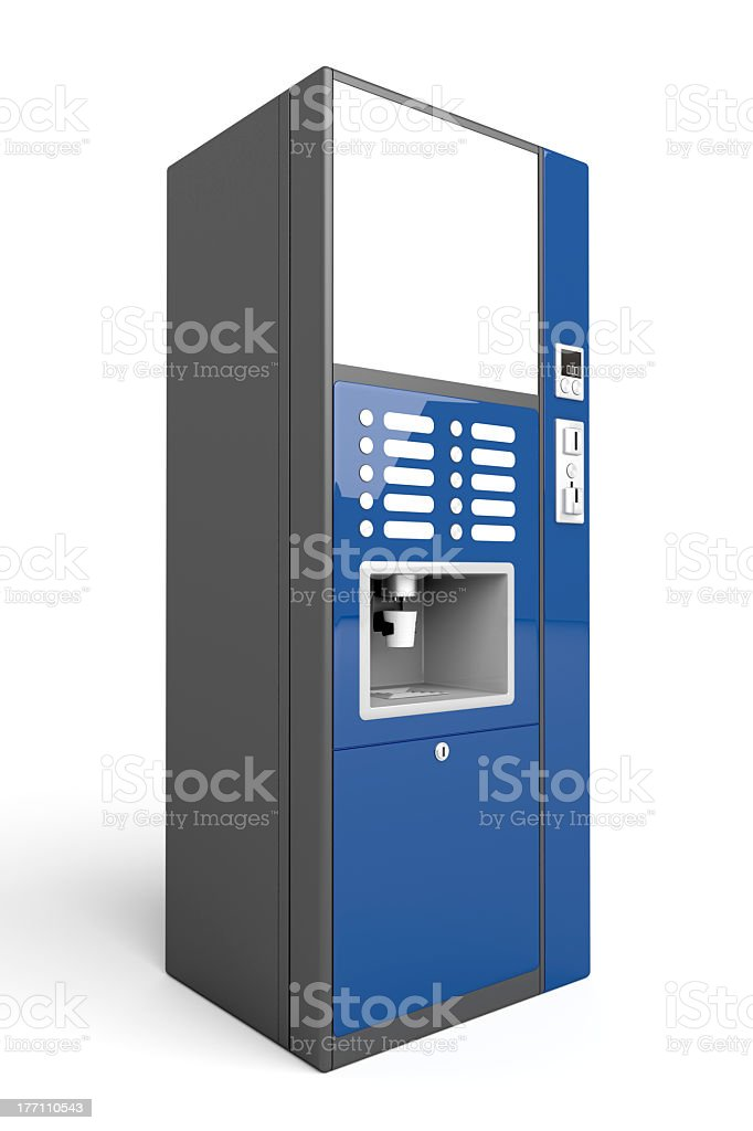 Blue coffee vending machine isolated on white background stock photo