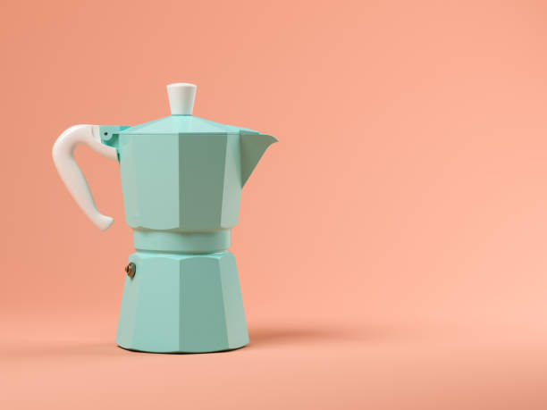 Blue coffeepot on pink background 3D illustration Blue coffeepot on pink background 3 D illustration coffee pot stock pictures, royalty-free photos & images