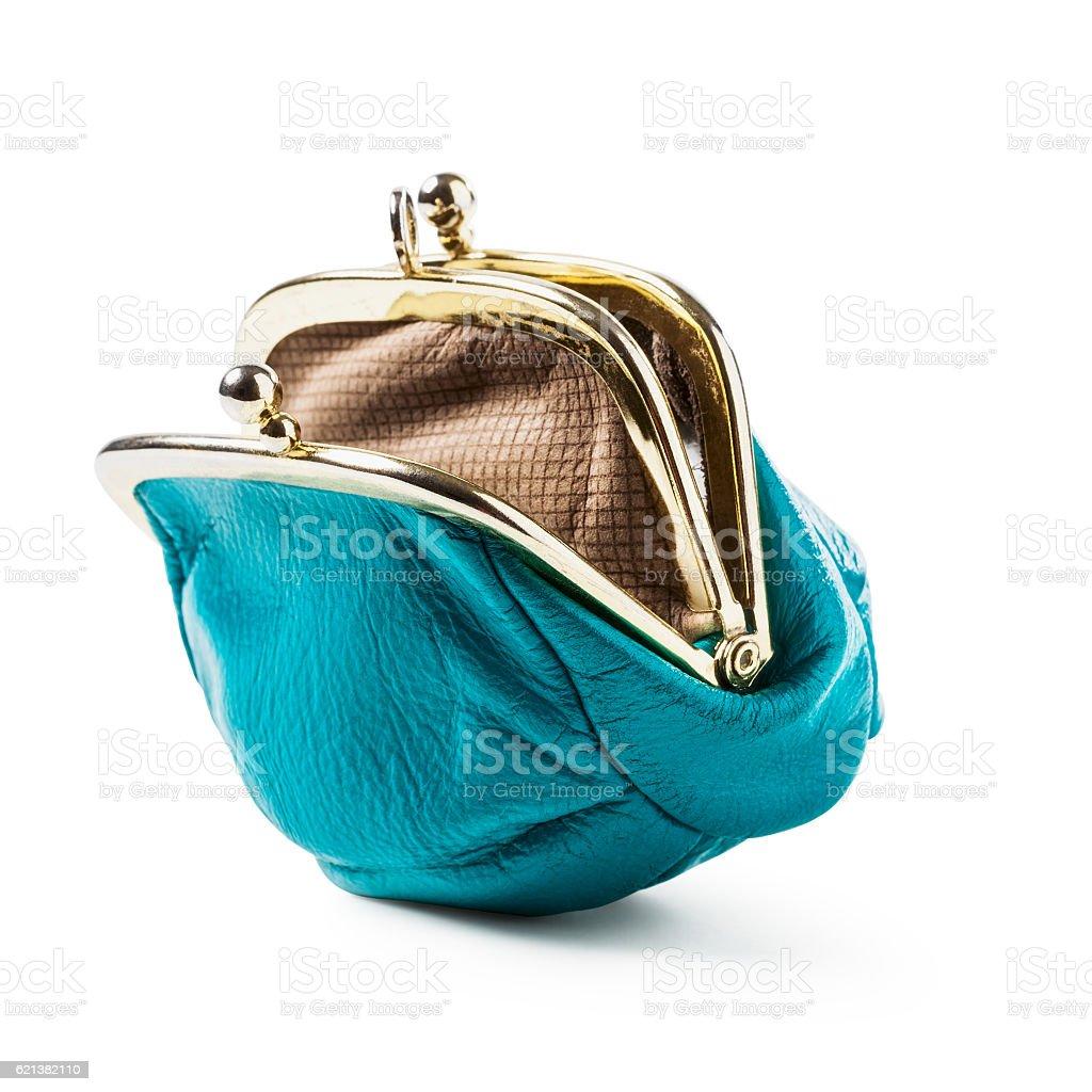 Blue coin purse empty stock photo