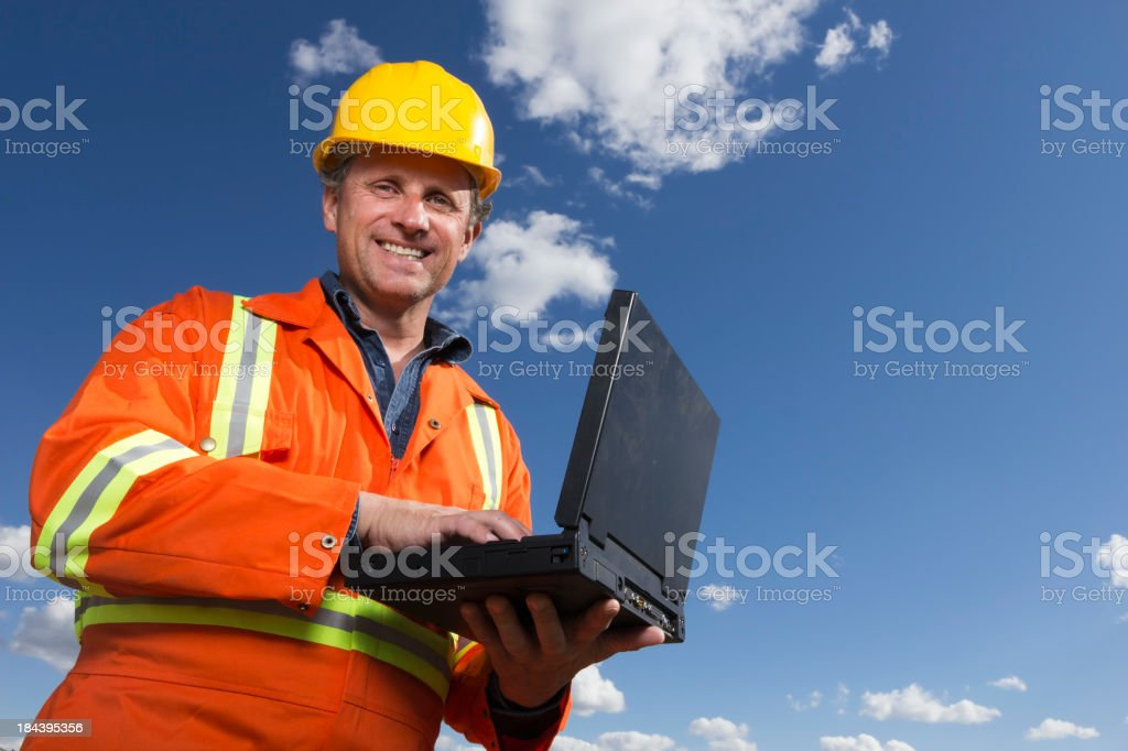 Blue Collar Laptop royalty-free stock photo