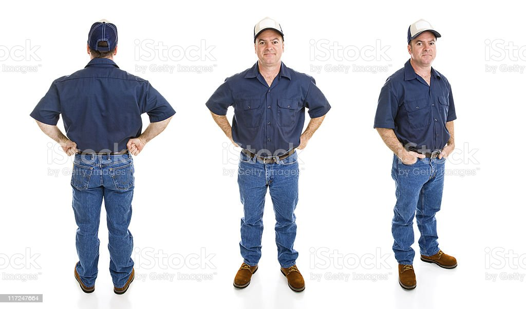 Blue Collar Man - Three Perspectives stock photo