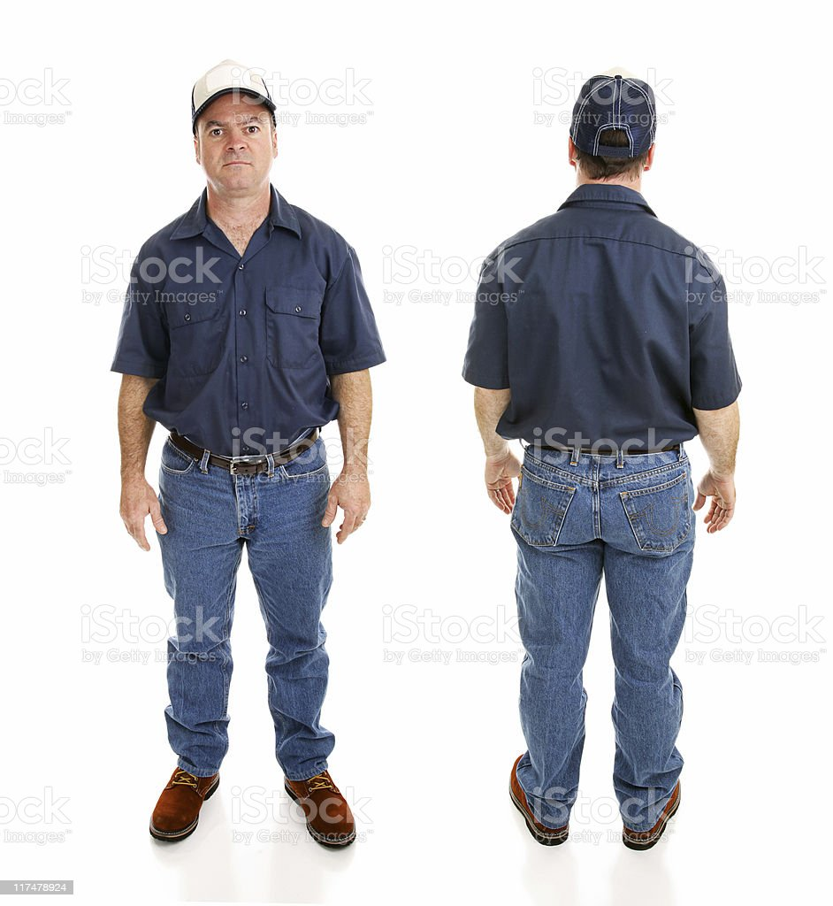 Blue Collar Man Two Views stock photo