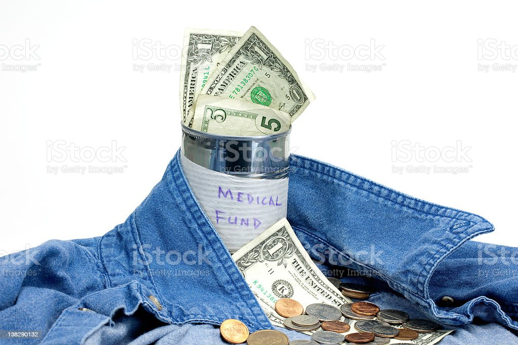 Blue Collar Medical Can with cash and coins- Landscape View stock photo