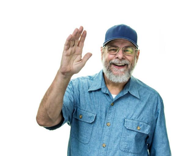 Blue Collar Working Class Senior Man Waving stock photo