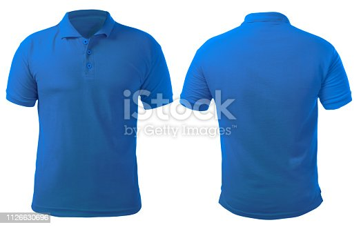 Blank collared shirt mock up template, front and back view, isolated on white, plain blue t-shirt mockup. Polo tee design presentation for print.