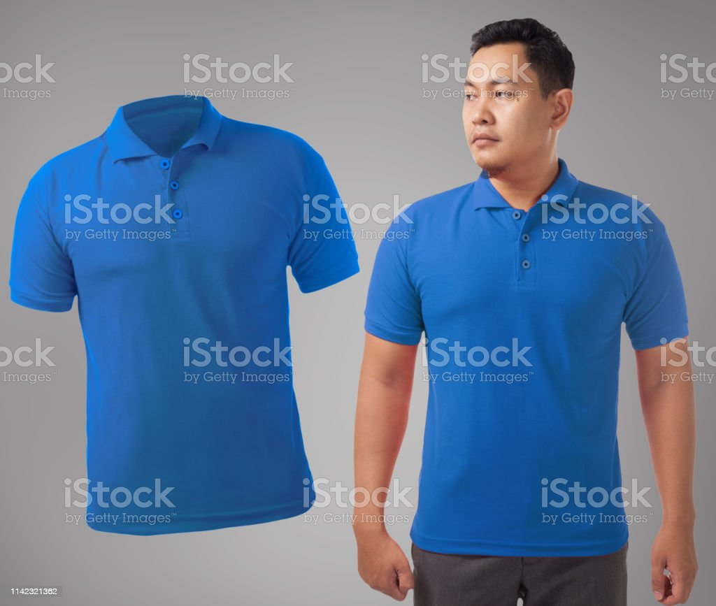 Blank collared shirt mock up template, front view, Asian male model...