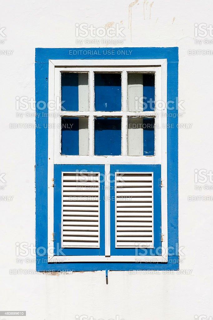 Blue Colonial janela Pirenopolis Goiás Estado, Brasil foto royalty-free