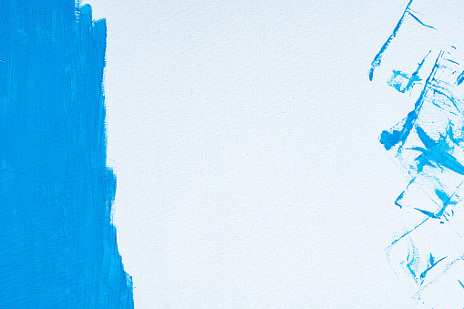 1084390994 istock photo Blue color abstract paint with a brush and textures of water color oil colour drawing lines on white canvas background 1208733639