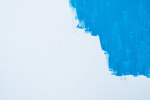 1084390994 istock photo Blue color abstract paint with a brush and textures of water color oil colour drawing lines on white canvas background 1208733646